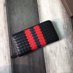 BV-V85353-4 寶緹嘉煙熏編織拼色意大利胎牛皮男士拉鏈小手包錢包