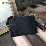 BV-V65332-6 最新款拼色胎牛皮純手工編織手拿包收納薄款信封包