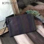 BV-V65332-9 網格狀純手工編織胎牛皮收納薄款手拿包信封包