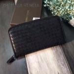 BV-V88301-2 經典胎牛皮手工編織低調奢華拉鏈錢包