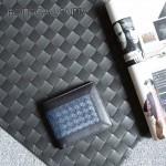 BV-V88307-7 專櫃最新款胎牛皮拼色純手工編織短款小錢包