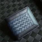 BV-V88307-9 專櫃最新款胎牛皮拼色純手工編織短款小錢包