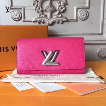 LV-M62362 最新款玫紅靈巧實用轉鎖設計多口袋錢夾