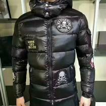 Moncler衣服-030 蒙口冬季保暖情侶款骷髏徽章裝飾連帽款羽絨服外套