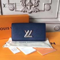 LV-M64401 最新款藍色靈巧實用轉鎖設計多口袋錢夾