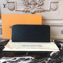 LV-60915 LV原單黑色CLEMENCE小巧拉鏈長款錢包