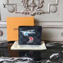 LV-N62663 Damier Graphite帆布系列時尚低調絲印飛機短款錢夾