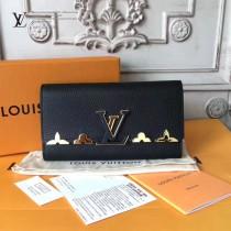 LV M64551 潮流百搭Capucines金屬花卉裝飾原單黑色長款翻蓋錢包