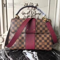 LV N64416-2 時尚新品女士BOND STREET原單咖啡格配棗紅色手提單肩包
