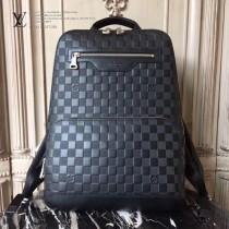 LV N41043 專櫃新品男士AVENUE原單黑色壓格紋雙肩包書包