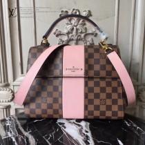 LV N64416 時尚新品女士BOND STREET原單咖啡格配粉色手提單肩包