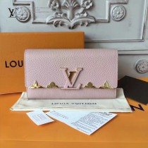 LV M64552 潮流百搭Capucines金屬花卉裝飾原單粉色長款翻蓋錢包