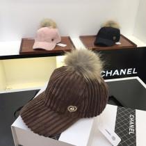 CHANEL帽子-07-3 香奈兒專櫃同步銷售休閒女式原版狐狸毛球棒球帽