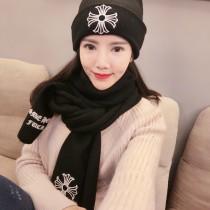 Chrome Hearts帽子-01-2 克羅心秋冬保暖新款頂級羊絨帽子圍巾套裝