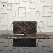 LV-M61276-7 最新款原版皮黑花朵優雅小巧POCHETTE FELICIE 手袋