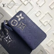 LV-M62069 原單暗藍色花卉金屬飾釘前衛Zippy拉鏈錢夾