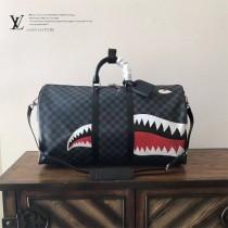 LV-N54169 原單動物印花帆布面料塗層帆布牛皮飾邊鯊魚KEEPALL45cm旅行袋