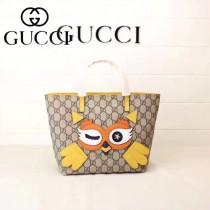 GUCCI 410812-06 新款超萌少女心卡通圖案PVC面料配牛皮迷你購物袋