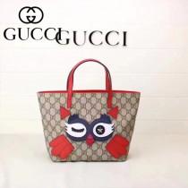 GUCCI 410812-05 新款超萌少女心卡通圖案PVC面料配牛皮迷你購物袋