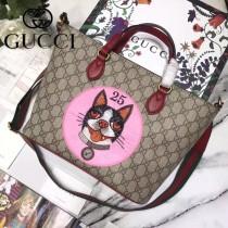 GUCCI 473887 專櫃同款原單刺繡小貓圖案手提單肩包購物袋