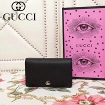 GUCCI 499782-1 古馳早春系列標誌性古銅黑色牛皮方包鏈條小包