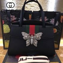 GUCCI 488691-3 專櫃原單蝴蝶系列黑色牛皮手提單肩包