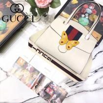 GUCCI 488691 專櫃全新蝴蝶系列白色牛皮手提單肩包
