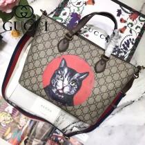 GUCCI 473887-2 專櫃同款原單刺繡小貓圖案手提單肩包購物袋