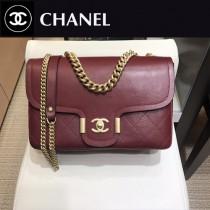 CHANEL  8073-01  香奈兒原版皮時尚新款中號超柔軟鹿紋皮斜挎鏈條包