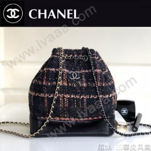 CHANEL 01149 專櫃限量版原單菱格粗毛呢編織流浪包雙肩書包
