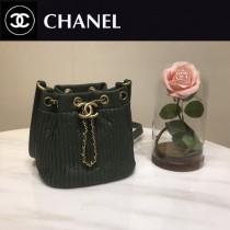 CHANEL 01164-4 時尚復古風希臘系列原單純手工小號皺褶抽繩水桶包