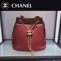 CHANEL 01163 時尚復古風希臘系列原單純手工大號皺褶抽繩水桶包