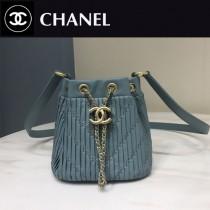 CHANEL 01164-2 時尚復古風希臘系列原單純手工小號皺褶抽繩水桶包