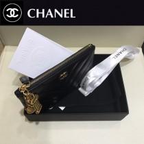 CHANEL 01162-2 專櫃最新原版球紋小羊皮V紋裝飾吊墜零錢包卡包
