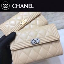 CHANEL 01177-6 時尚新品女士LEBOY原單小羊皮銀扣搭扣中長款三折錢包