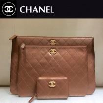 CHANEL 01182 時尚新款原單黑色菱格羊皮琺瑯扣大號拉鏈手拿包