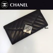 CHANEL 6683 香奈兒新款原單小羊皮做舊大方扣款多卡位實用設計長款錢夾