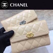 CHANEL 01177-7 時尚新品女士LEBOY原單小羊皮金扣搭扣中長款三折錢包