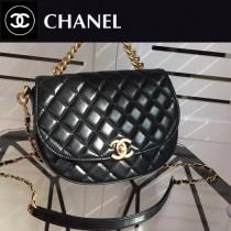 CHANEL 01167 專櫃新品太空系列原單黑色油蠟皮手提單肩包馬鞍包