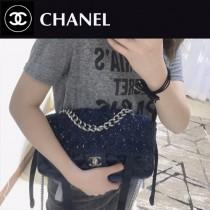 CHANEL 01169 專櫃最新品原單尼龍拼粗花大號單肩斜挎包口蓋包