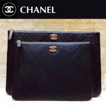CHANEL 01182-2 時尚新款原單黑色菱格羊皮琺瑯扣大號拉鏈手拿包
