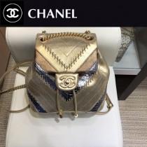 CHANEL 8067 香奈兒Chanel backpack系列時尚v紋金屬穿鏈造型3皮拼接抽繩設計底部特色大雙C雙肩包