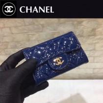 CHANEL 01180-3 人氣經典款原單漆皮牛皮金扣短款零錢包
