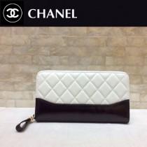 CHANEL 84385-1 香奈兒時尚新款原單流浪包系列胎牛皮拼色拉鏈錢夾