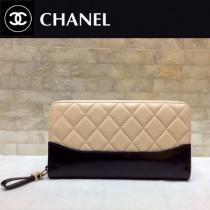 CHANEL 84385-2 香奈兒時尚新款原單流浪包系列胎牛皮拼色拉鏈錢夾