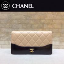 CHANEL 84387-1 香奈兒新款原單時尚經典流浪包系列胎牛皮拼色對折錢夾