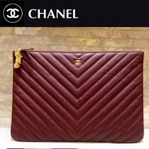 CHANEL 82544-2 香奈兒新款原單貓頭鷹系列進口黑色v紋牛皮優質金屬配件手拿包