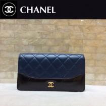 CHANEL 84387-2 香奈兒新款原單時尚經典流浪包系列胎牛皮拼色對折錢夾