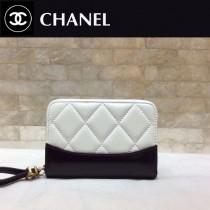 CHANEL 84384-3 香奈兒新款原單時尚經典新品流浪包系列胎牛皮拼色卡包 錢包