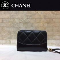 CHANEL 84384-5 香奈兒新款原單時尚經典新品流浪包系列胎牛皮拼色卡包 錢包